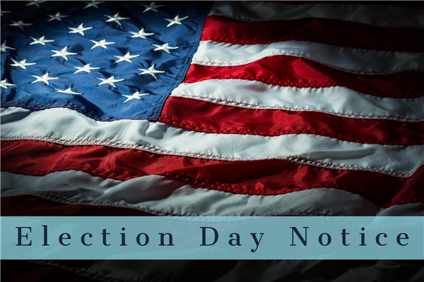 Election Day Notice with Flag