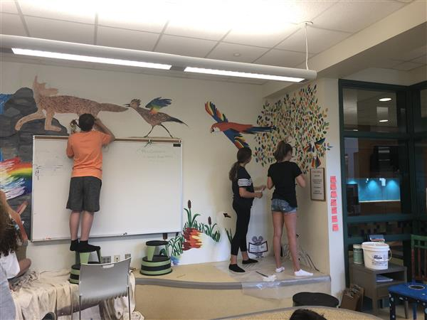 Students Paint in EH Library