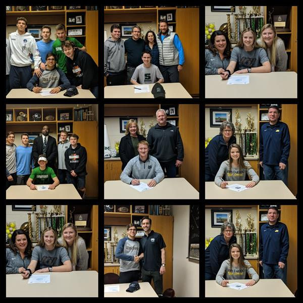 Collage of athletes and families